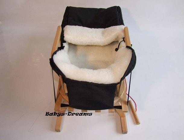 holzschlitten mit r ckenlehne winterfu sack lammwolle. Black Bedroom Furniture Sets. Home Design Ideas