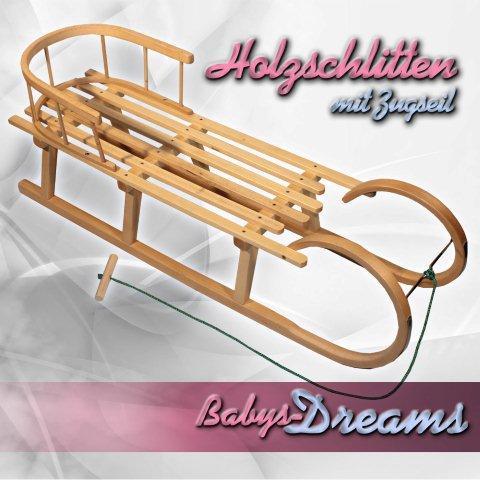 h rnerrodel 120cm schlitten holzschlitten mit r ckenlehne. Black Bedroom Furniture Sets. Home Design Ideas