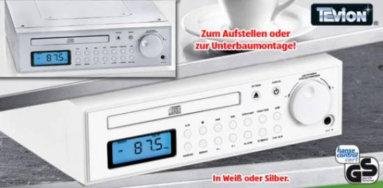 k chenradio unterbau wecker cd player von tevion neu ebay. Black Bedroom Furniture Sets. Home Design Ideas