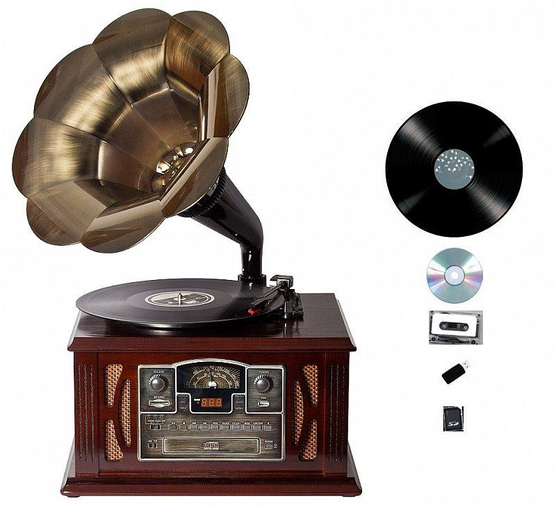 retro holz nostalgie musik anlage kompaktanlage grammophon plattenspieler radio ebay. Black Bedroom Furniture Sets. Home Design Ideas