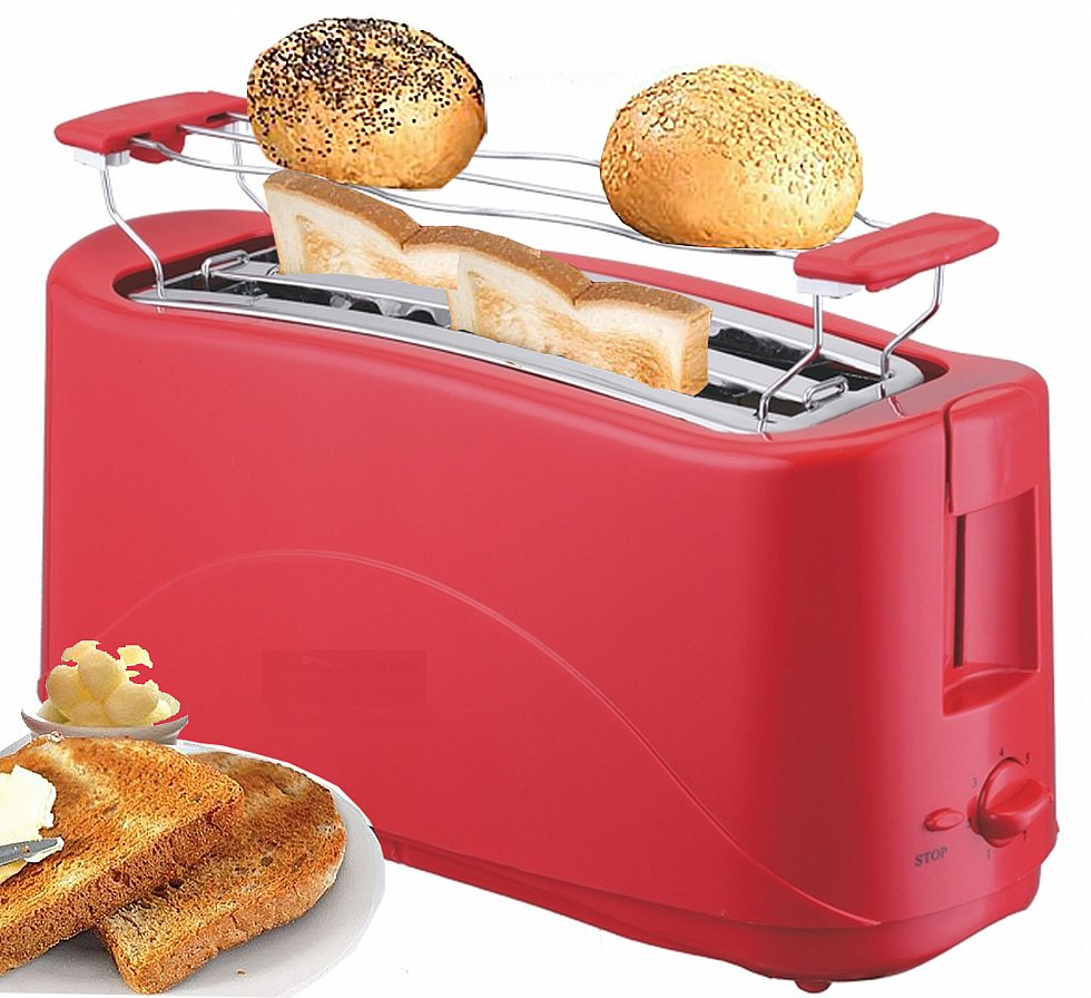 toaster 4 scheiben langschlitz toster toastautomat 1300 watt rot neu ebay. Black Bedroom Furniture Sets. Home Design Ideas