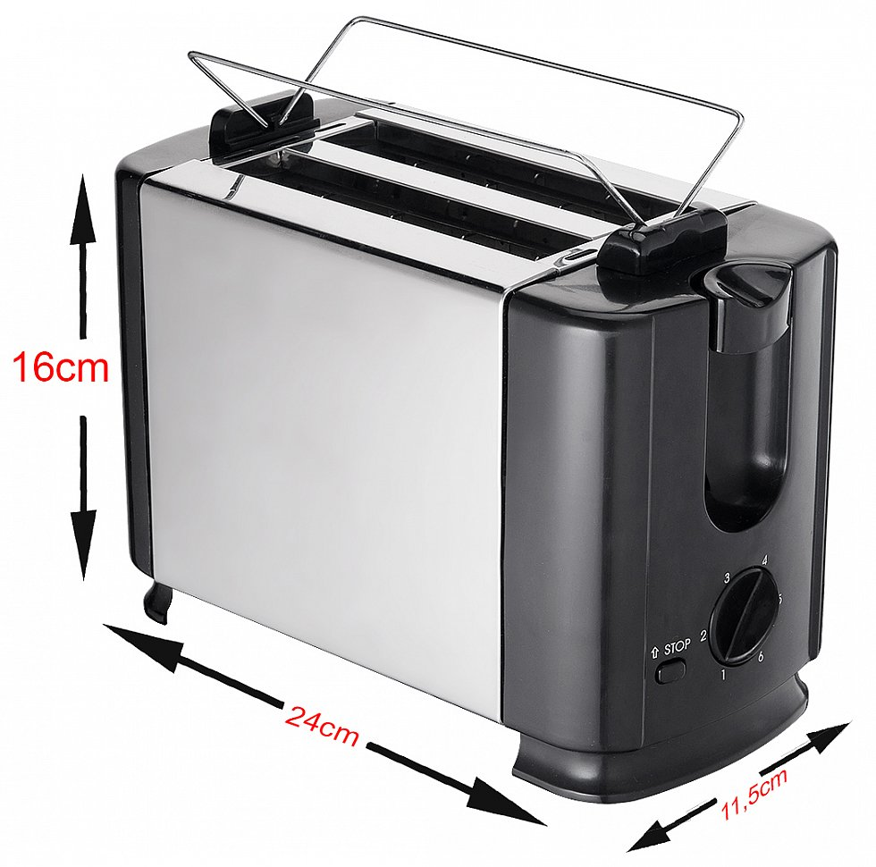 edelstahl design doppelschlitz toaster 2 scheiben toastautomat brotr ster neu ebay. Black Bedroom Furniture Sets. Home Design Ideas