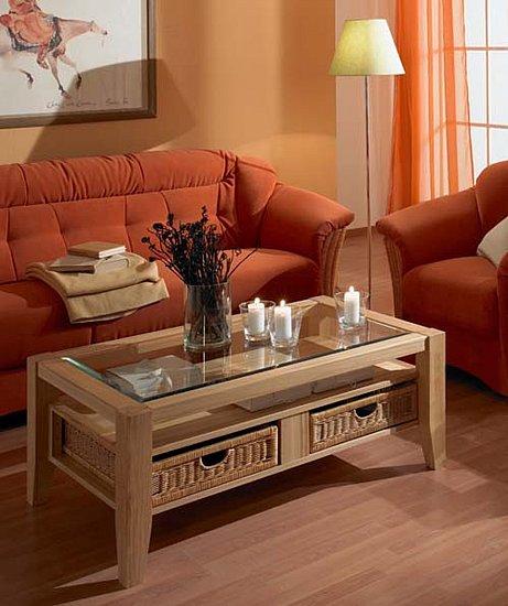 angebot massivholz couchtisch mit glasplatte und k rben restposten ebay. Black Bedroom Furniture Sets. Home Design Ideas
