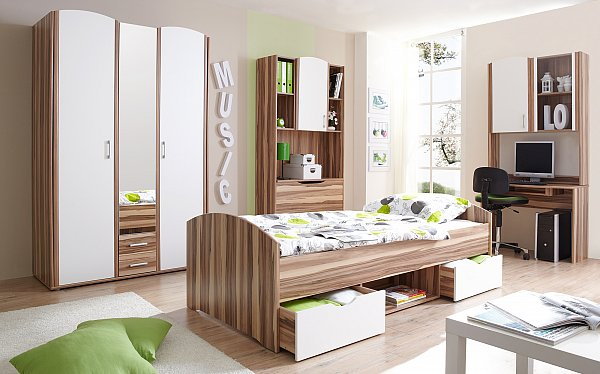 jugendzimmer nemo schrank bett schreibtisch standregal buche braun neu ebay. Black Bedroom Furniture Sets. Home Design Ideas