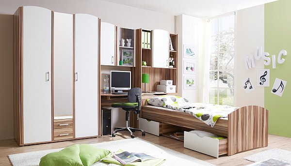 jugendzimmer nemo schrank bett schreibtisch standregal. Black Bedroom Furniture Sets. Home Design Ideas
