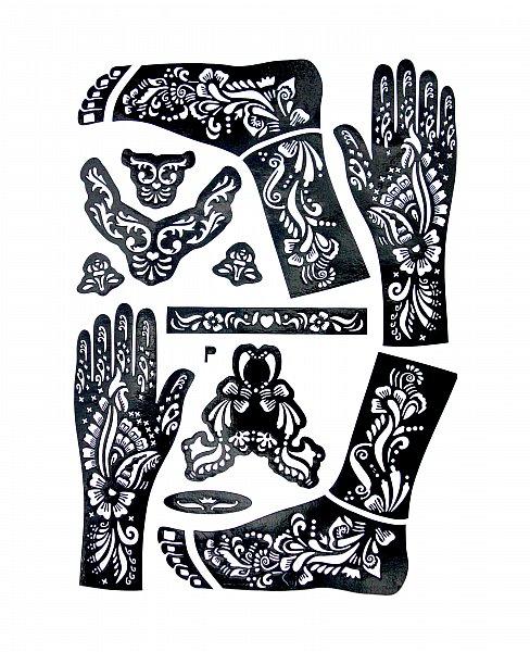 xl henna tattoo schablone vorlage muster blumen mehndi body paint kina schwarz. Black Bedroom Furniture Sets. Home Design Ideas