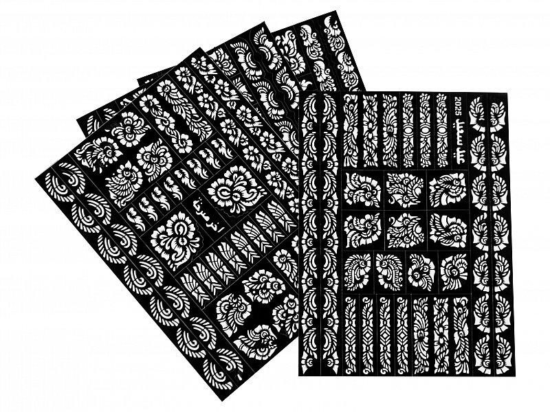3 xxl henna tattoo verschiedene henna schablonen vorlage h nde arme f sse r cken ebay. Black Bedroom Furniture Sets. Home Design Ideas