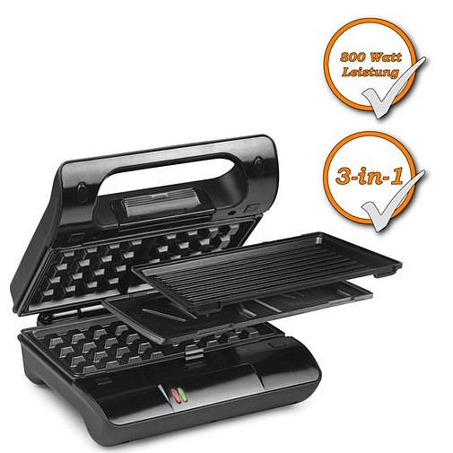 profi 3in1 kombiger t sandwichmaker waffeleisen. Black Bedroom Furniture Sets. Home Design Ideas