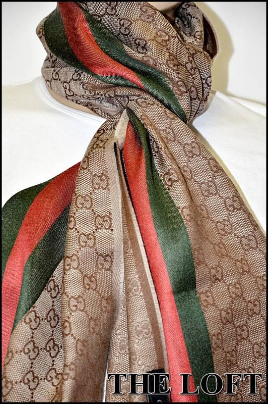 gucci schal gg logo scarf 180 x 35cm seide wolle. Black Bedroom Furniture Sets. Home Design Ideas