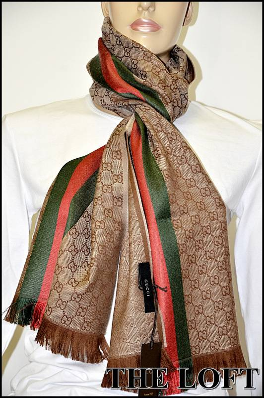 gucci schal gg logo scarf 180 x 35cm seide wolle shipping world ebay. Black Bedroom Furniture Sets. Home Design Ideas