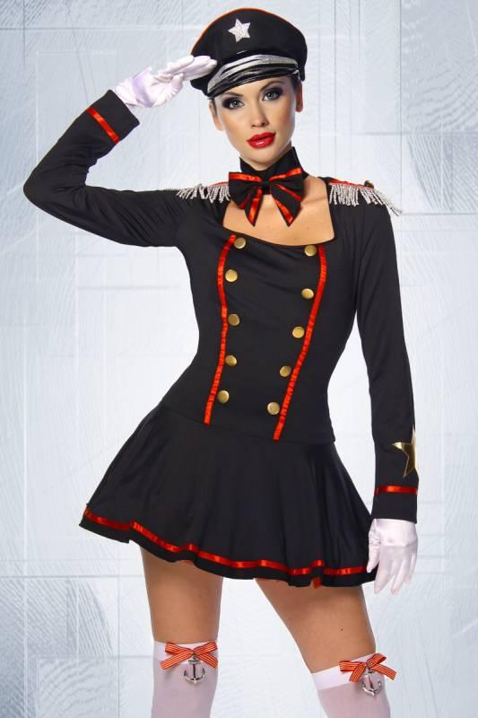 sexy offizier kost m marine soldatin soldaten schwarz rot s m l xl 2xl m tze ebay. Black Bedroom Furniture Sets. Home Design Ideas