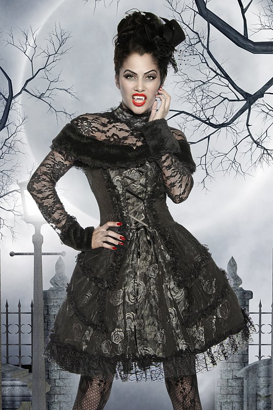 elegant vampire costume gothic dress with tulle and lace. Black Bedroom Furniture Sets. Home Design Ideas