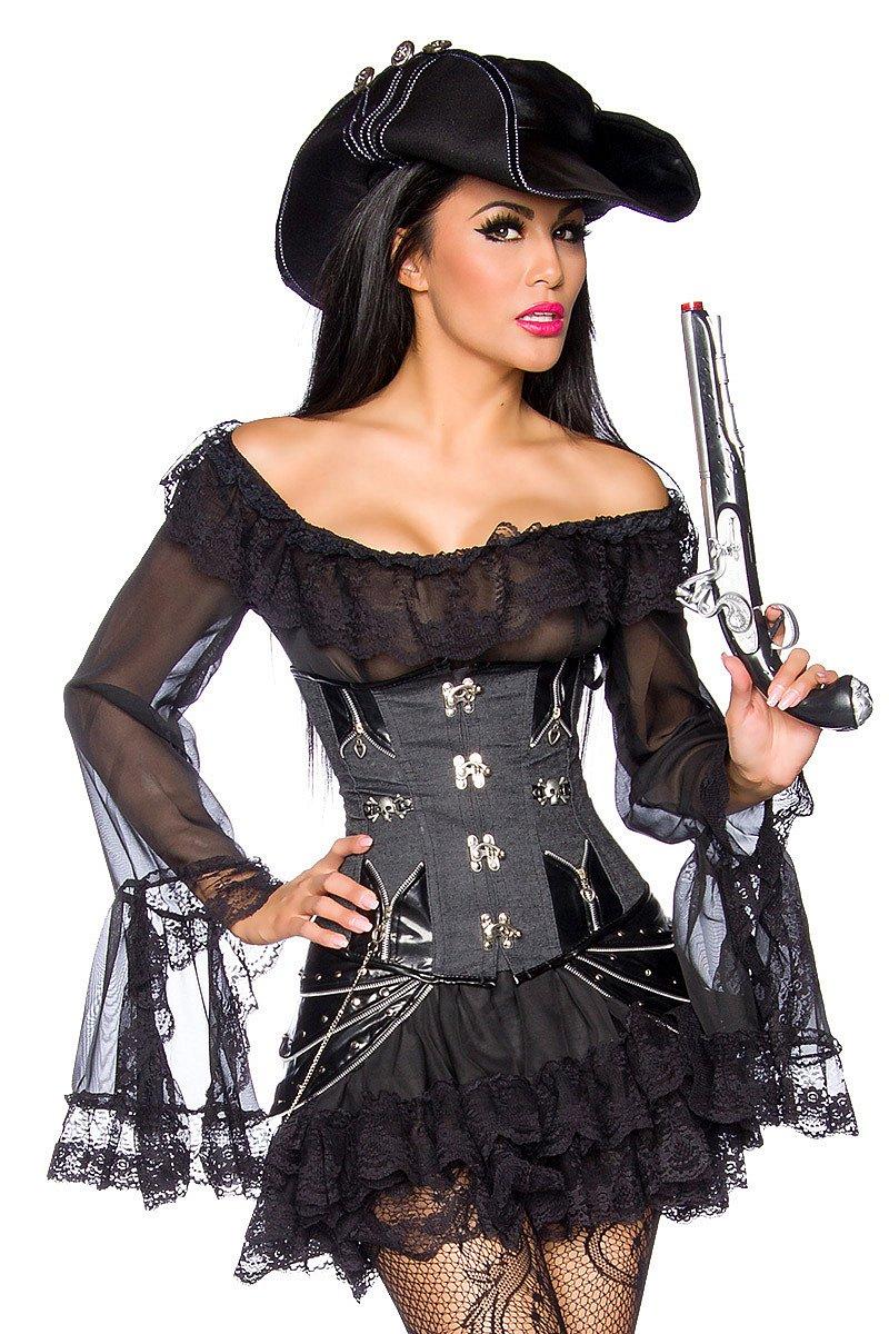 sexy damen piraten kost m pirat piratin kleid xs xxl. Black Bedroom Furniture Sets. Home Design Ideas